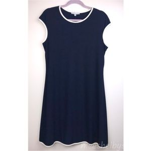 Annalee + Hope Navy Cap Sleeve Scoop Neck Dress